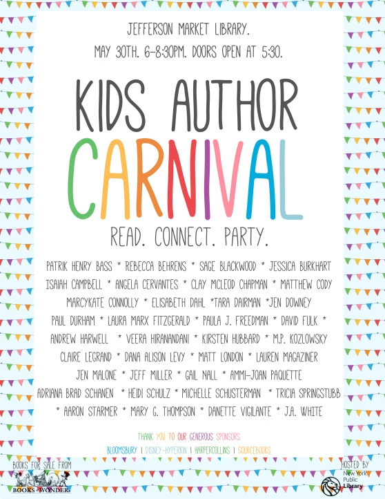 Kids Author Carnival May 30 at Jefferson Market Library
